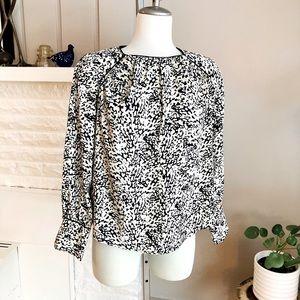 Zara Black & White Print Blouse With Black Piping